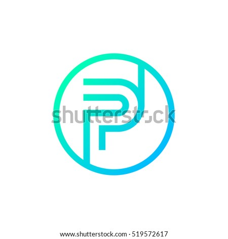 Letter P Logo Circle Shape Symbol Digital Technology Media Stock