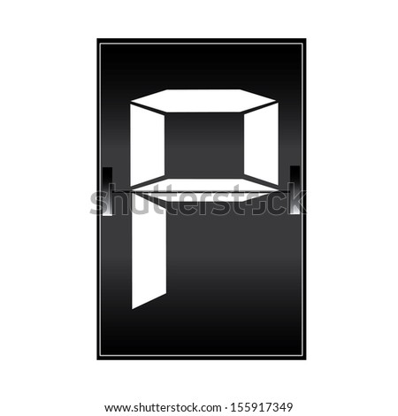 letter p on a mechanical timetable - stock vector