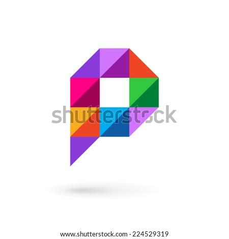 Letter P speech bubble mosaic logo icon design template elements  - stock vector