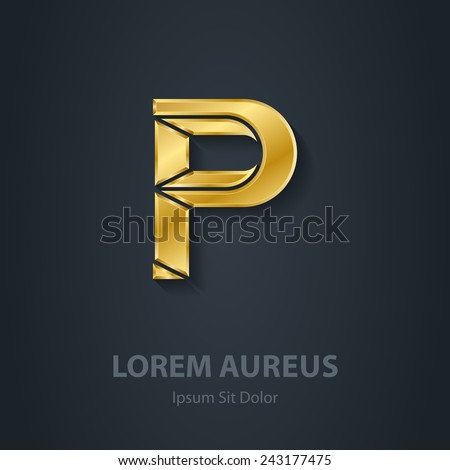 Letter P. Vector elegant gold font. Template for company logo. Design element or icon. - stock vector