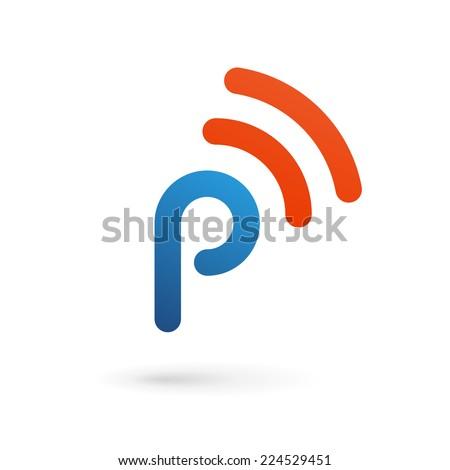 Letter P wireless logo icon design template elements  - stock vector