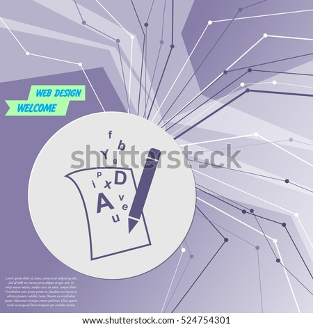 letter page text icon on purple abstract modern background. The lines in all directions. With room for your advertising. Vector illustration