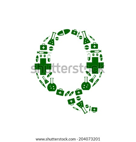 Letter Q, alphabet of medicine pills - stock vector