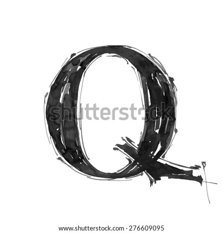 letter Q. Alphabet symbol - grunge hand draw paint / vector illustration - stock vector