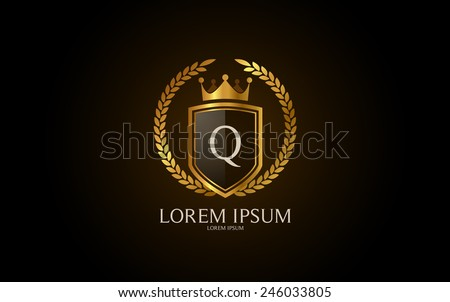 Letter Q crest logo. Alphabet logotype vector design. - stock vector
