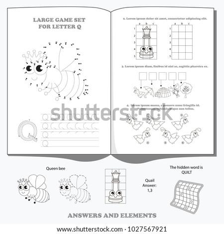 Letter q dot dot educational game stock vector 1027567921 shutterstock letter q dot to dot educational game for kids thecheapjerseys Images