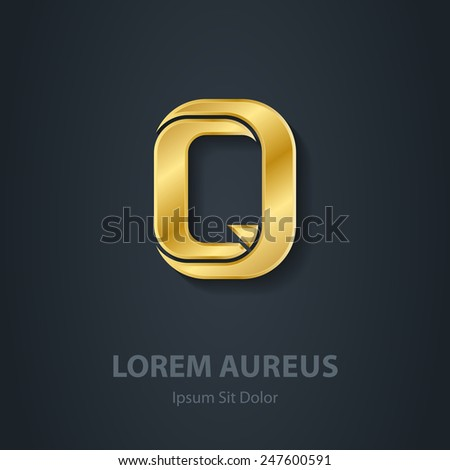 Letter Q. Vector elegant gold font. Template for company logo. Metallic 3d Design element or icon. - stock vector
