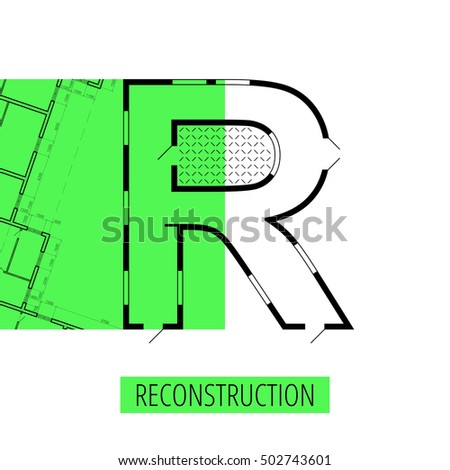 letter R, architectural plan, vector conceptual type