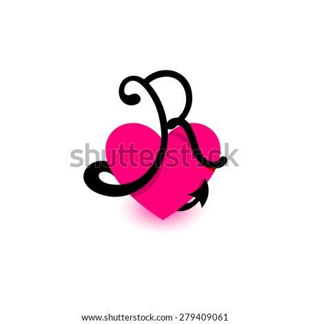 Letter R Heart Beautiful Vector Love Logo The Symbol Of Union Passion