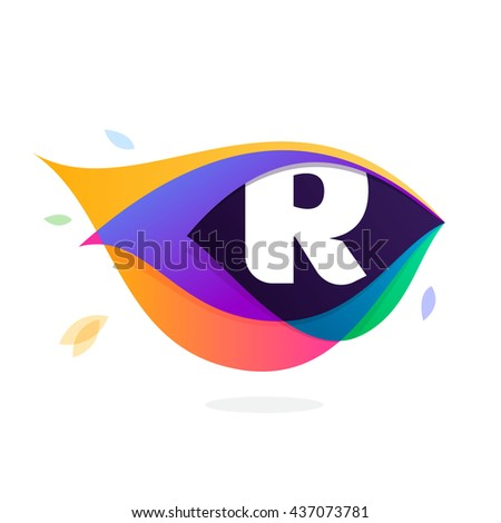 Letter R logo in peacock feather icon. Multicolor vector alphabet letters for app icon, corporate identity, card, labels or posters. - stock vector