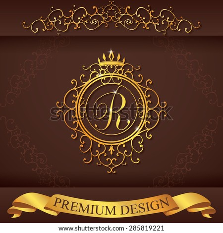 Letter R. Luxury Logo template flourishes calligraphic elegant ornament lines. Business sign, identity for Restaurant, Royalty, Boutique, Hotel, Heraldic, Jewelry, Fashion, vector illustration. - stock vector