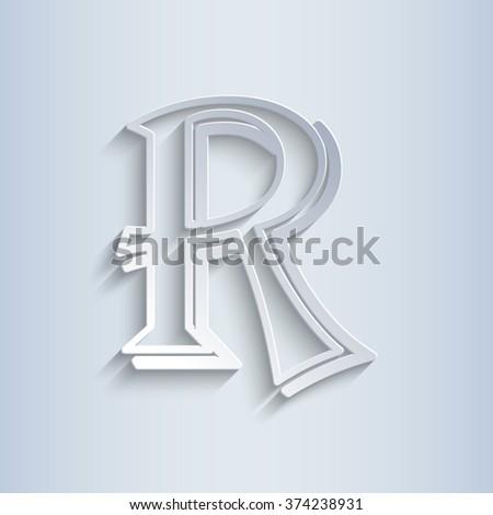 Letter R, vector alphabet - stock vector