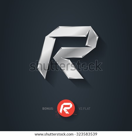Letter R, Vector silver font. Elegant Template for company logo. Metallic Design element or icon. Pseudo origami style, including flat version. - stock vector