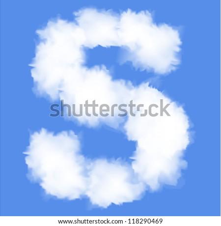Letter S  cloud shape - stock vector