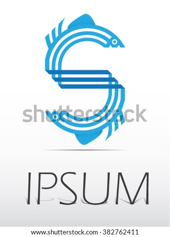 Letter S fish logo icon design template elements, abstract logo design.