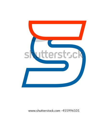 Letter S logo with red wing. Sport elements for sportswear, t-shirt, banner, card, labels or posters. - stock vector
