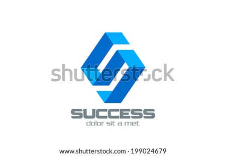 Letter S Ribbon abstract vector logo design template. Rhombus shape.  Corporate Business Technology concept icon. - stock vector