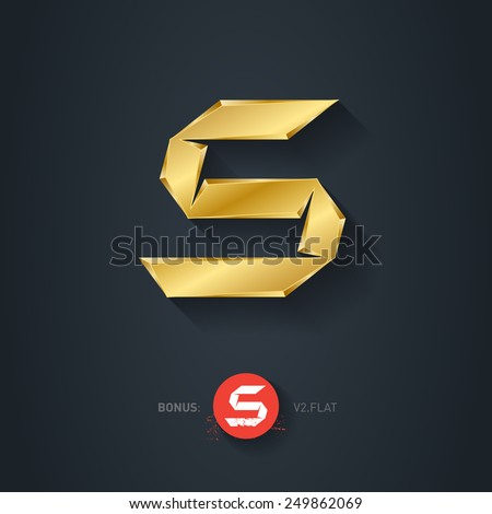 Letter S, Vector gold font. Elegant Template for company logo. 3d Metallic Design element or icon. Pseudo origami style, including flat version. - stock vector