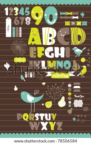 letter set from a to z for scrapbook - stock vector