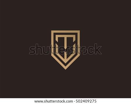 letter t w shield logo design stock vector 502409275