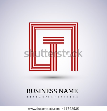 Letter T logo in a square. red colored. Vector design template elements  for company identity. - stock vector