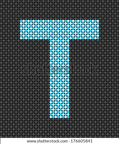 Letter T made from dots (vector)