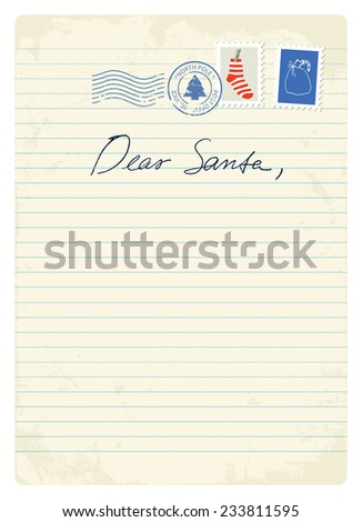 Letter to Santa - stock vector