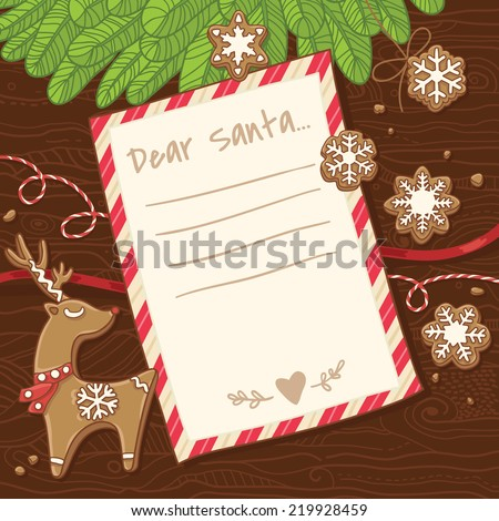 Letter to Santa Claus. Christmas card with gingerbread cookies. Vector illustration - stock vector