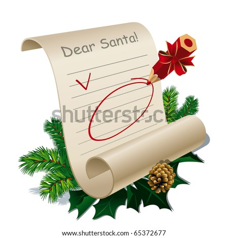 Letter to Santa Claus With Blank Guidelines. Vector Illustration - stock vector
