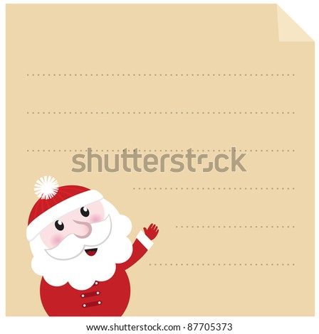 Letter to Santa - old paper parchment with character - stock vector