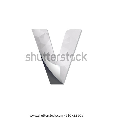 letter triangular paper fold icon logo v