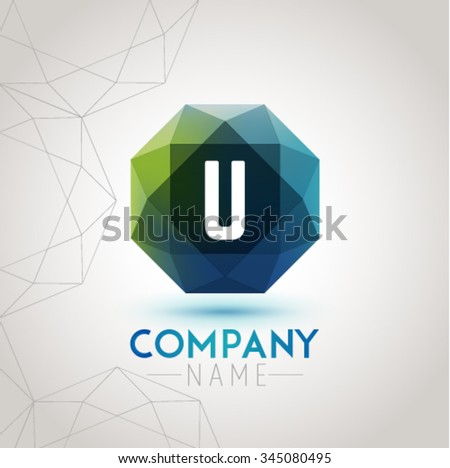 Letter U Alphabet Logo Icon Design Template Element. Vector Color Sign Easy Editable for Your Design. - stock vector
