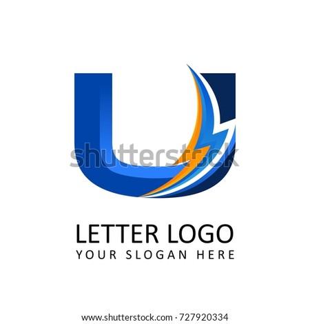 Letter U ELECTRICAL Alphabet Logo Stock Vector 727920334 - Shutterstock