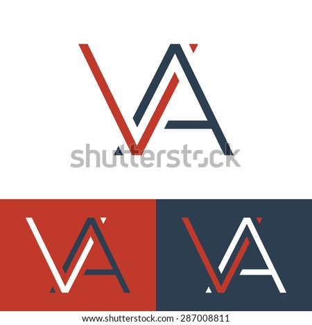 Letter V And A Logo Template Monogram Three Color Schemes