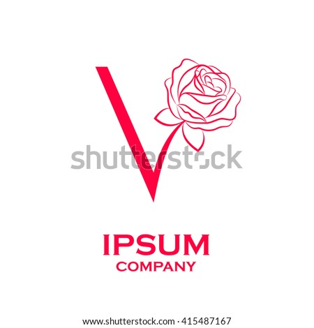 Letter v logorose flower red beauty stock vector 415487167 letter v logorose flower red beauty and fashion logo altavistaventures Choice Image