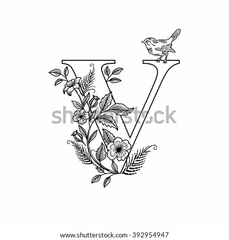 Letter v flowers bird linear figure stock photo photo vector letter v flowers bird linear figure stock photo photo vector illustration 392954947 shutterstock altavistaventures Images