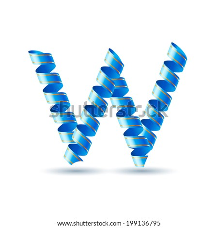 Letter W made of blue curled shiny ribbon - stock vector