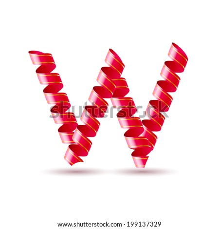 Letter W made of red curled shiny ribbon - stock vector