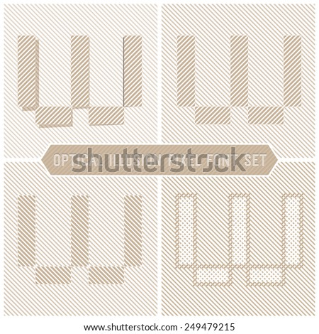 Letter W - Optical Illusion Alphabet Set - stock vector