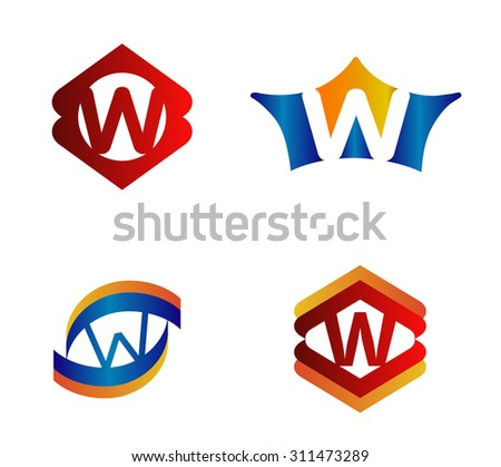 Letter W set Alphabetical Logo Design Concepts