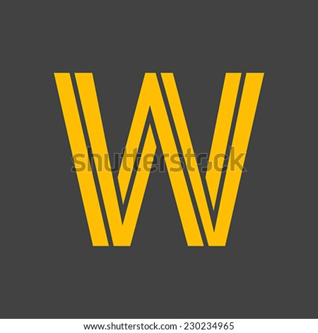 Letter W vector alphabet impossible shape.  ABC concept type as logo. Typography design - stock vector
