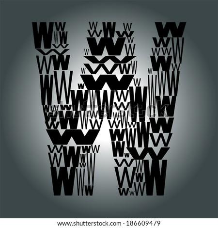 letter W. Vector illustration - stock vector