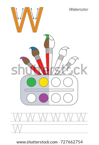 Letter W Watercolor Coloring Book Educate Stock Vector 727662754 ...