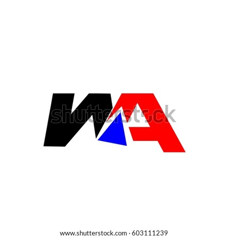 letter WA red and black color logo vector