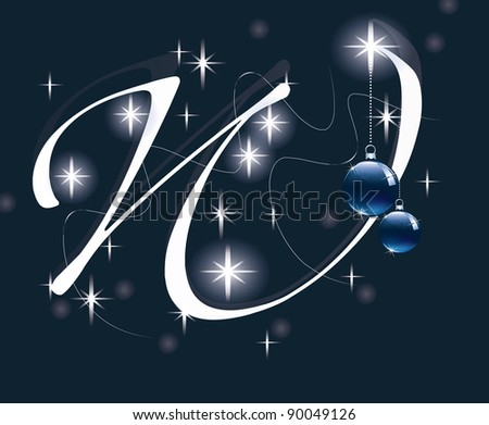 Letter with decoration for Christmas design