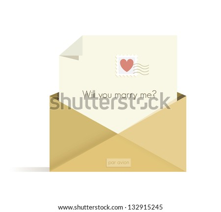 Letter with Will you marry me? question with red heart postal stamp in the opened envelope