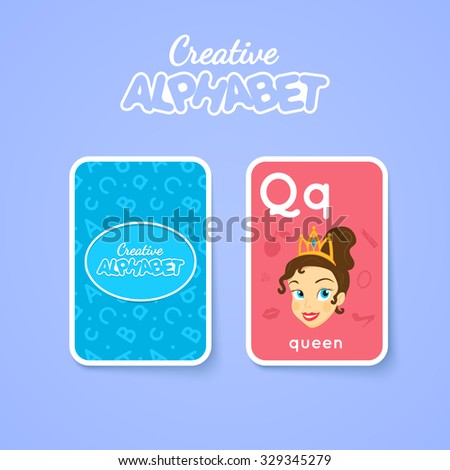 Letter, word and picture. Alphabet double-sided card for children. Colorful vector illustration.