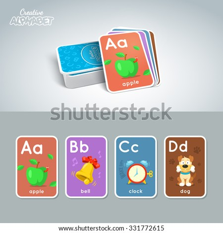 Letter, word and picture. Alphabet tutorial cards collection. Colorful vector illustration. - stock vector
