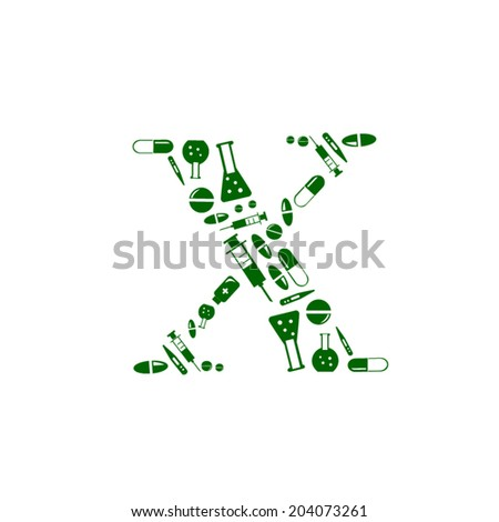 Letter X, alphabet of medicine pills - stock vector