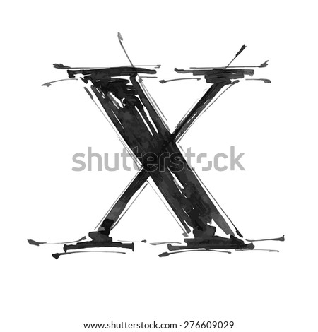 letter X. Alphabet symbol - grunge hand draw paint / vector illustration - stock vector